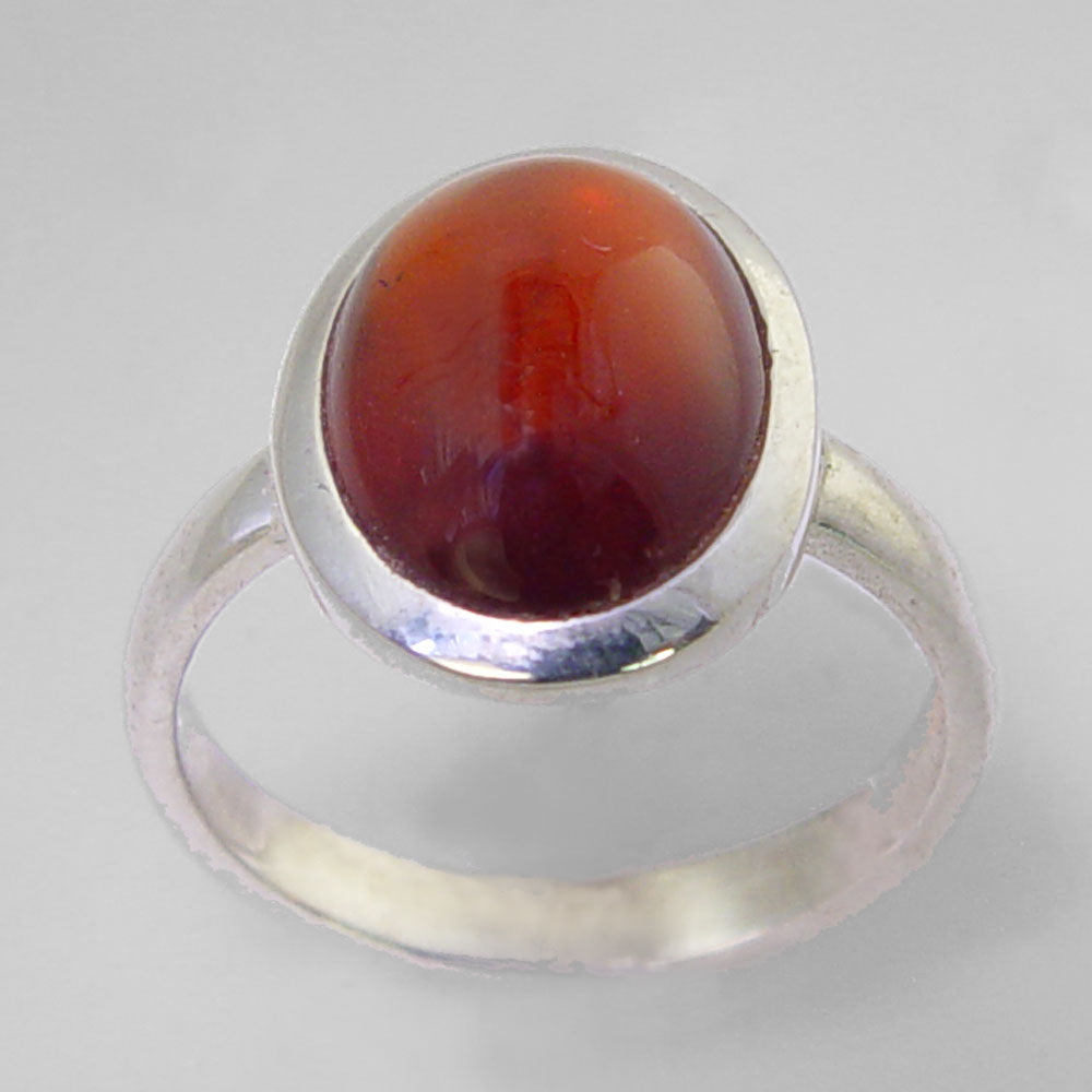 Cinnamon Hessonite Garnet 8.9 ct Oval Cab Sterling Silver Ring, Size 8
