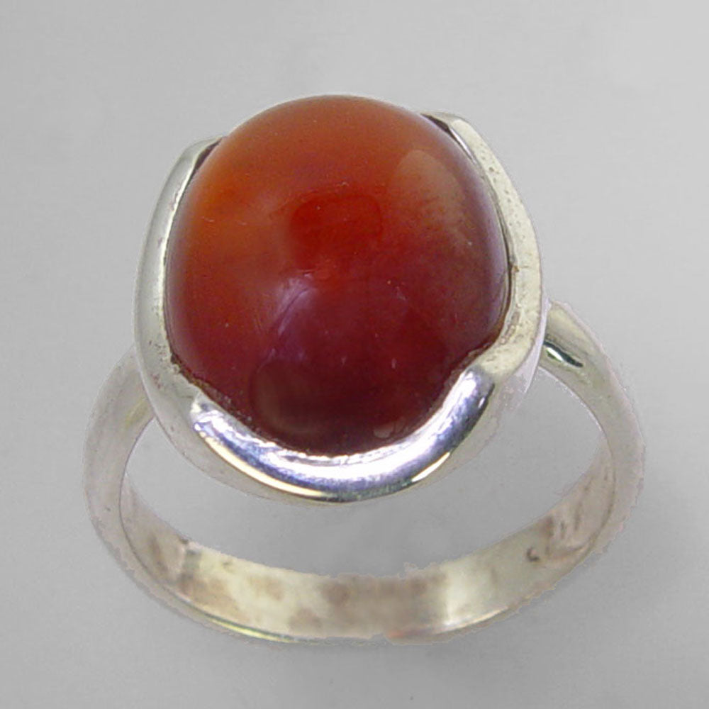 Cinnamon Hessonite Garnet 10.6 ct Oval Cab Sterling Silver Ring, Size 7