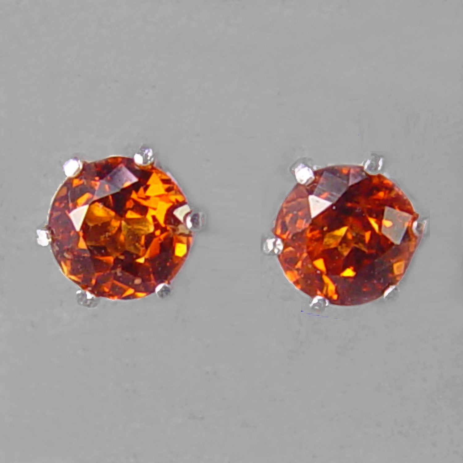 Red Hessonite Garnet Faceted Round Sterling Silver Post Earrings - 2 CTW