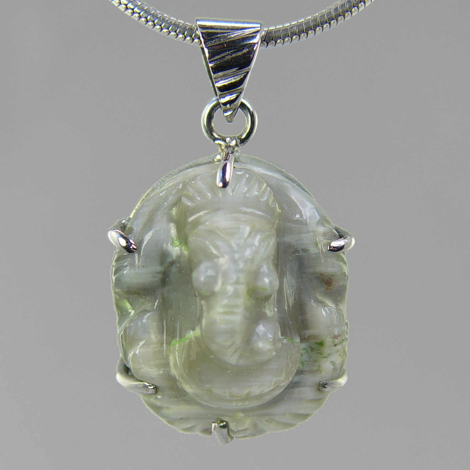 Chrysoberyl Ganesha set in Sterling Silver Pendant