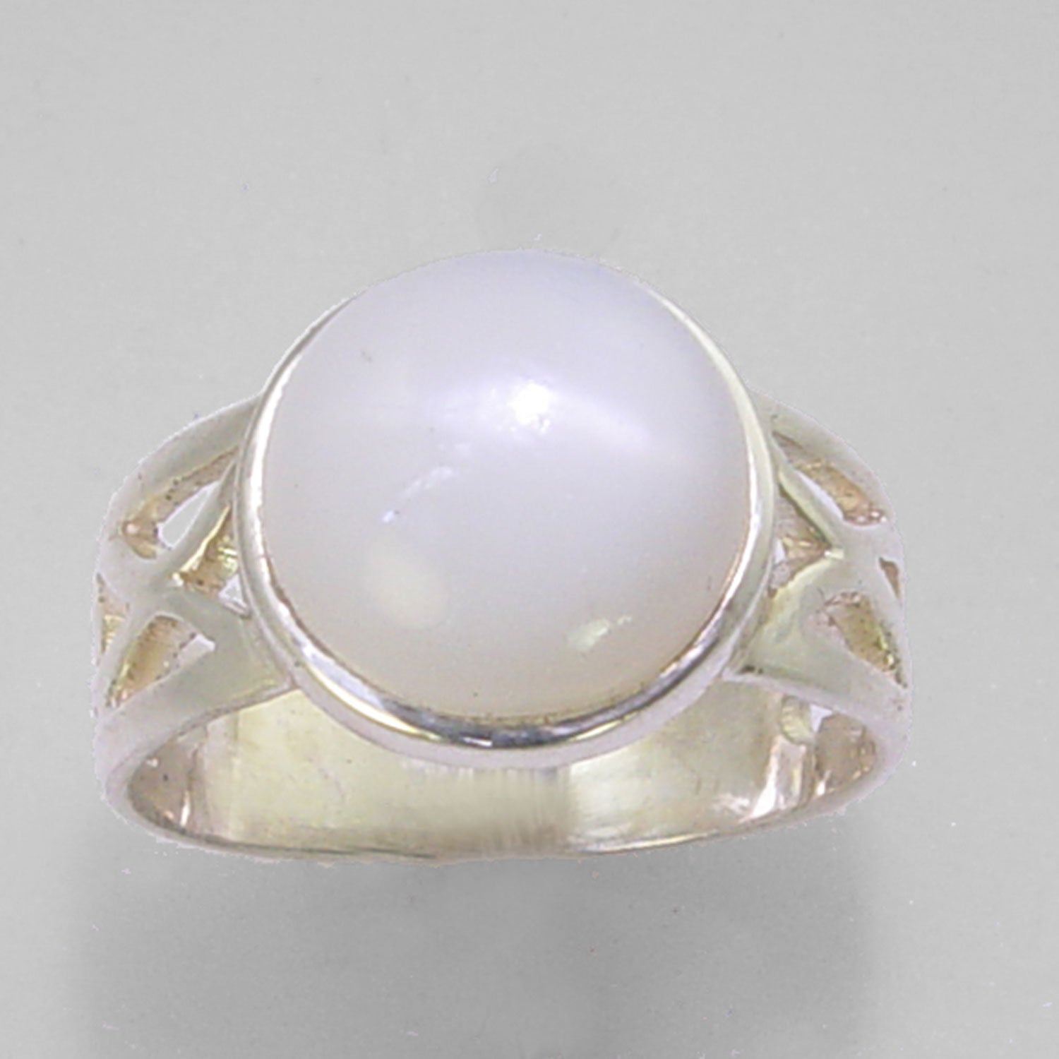 Moonstone Cat's Eye 4.35 ct Round Cab Sterling Silver Ring, Size 7