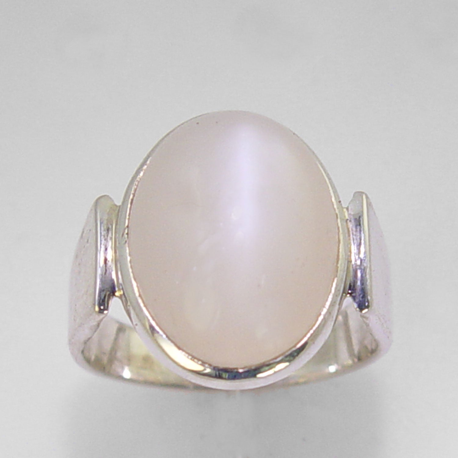 Moonstone Cat's Eye 9.3 ct Oval Cab Sterling Silver Ring, Size 8
