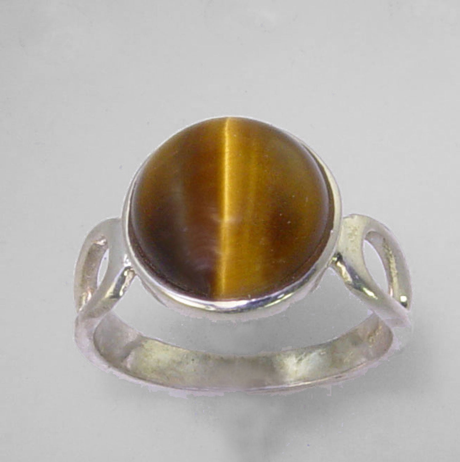 Tigereye Cat's Eye 2.95 ct Round Cab Sterling Silver Ring, Size 7