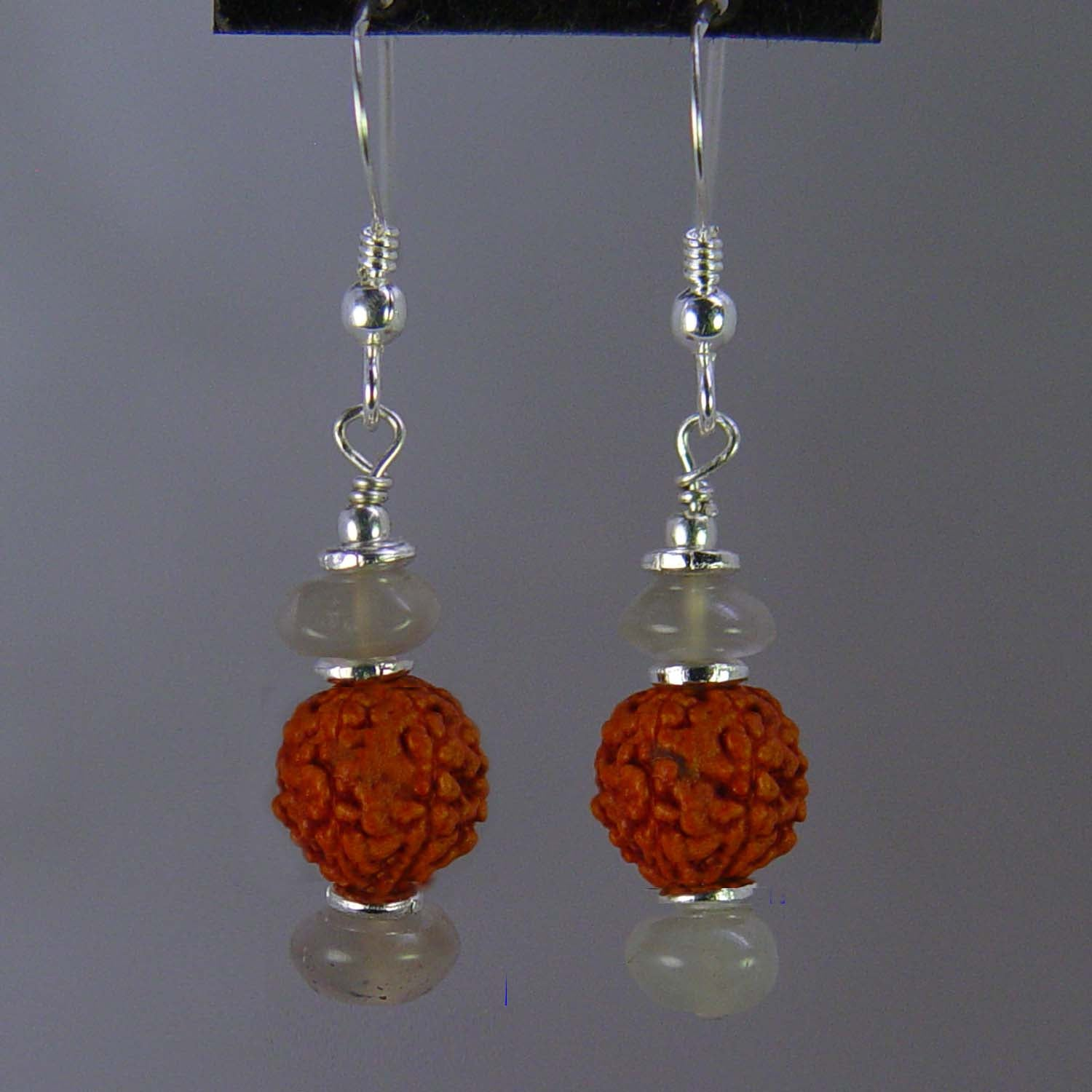 Rudraksha and Chrysoberyl Cats Eye Rondelle Earrings