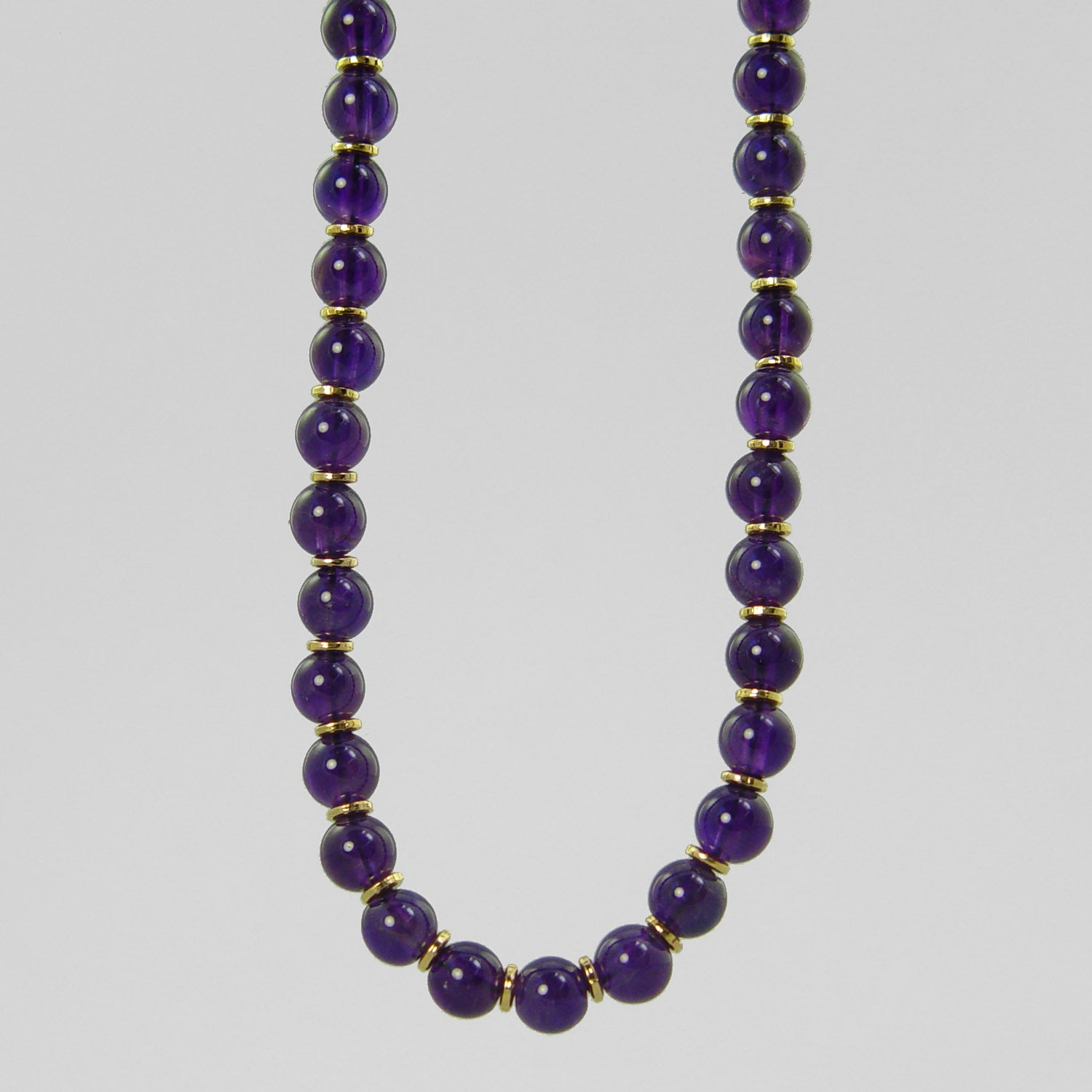 "Amethyst Round Bead with Accents 16"", 18"", 20"" or 24"" Necklace"