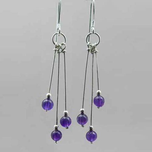 Amethyst Earrings - Long Triple Dangle