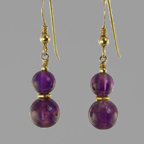 Amethyst Ball Drop Earrings