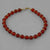 "Carnelian Round Bead and Accents 7.25"" or 8"" Bracelet"