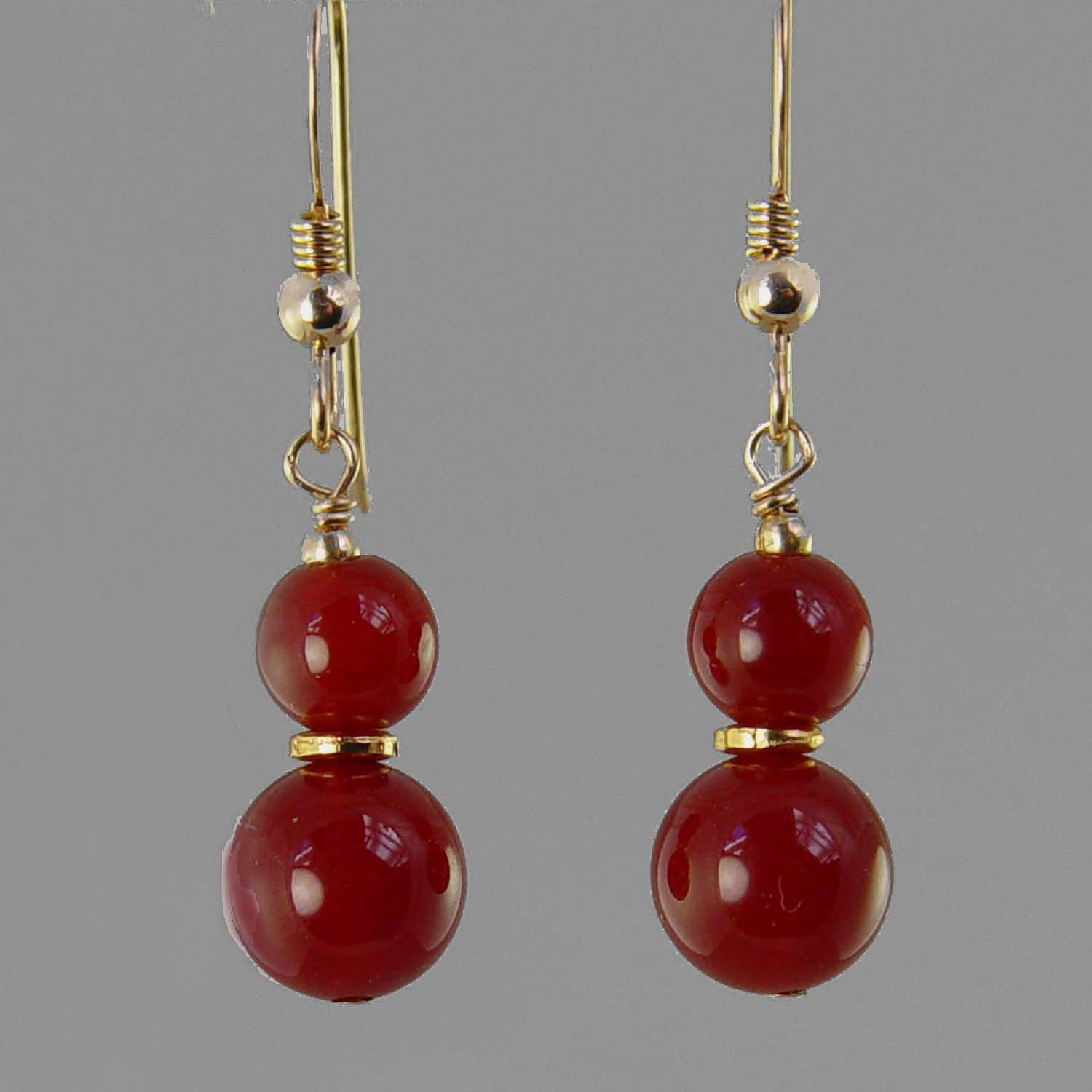 Carnelian Ball Drop Earrings