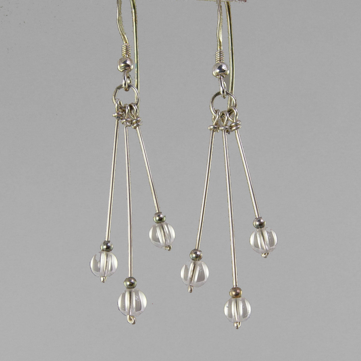 Quartz Crystal Earrings - Long Triple Faceted Bead Dangle