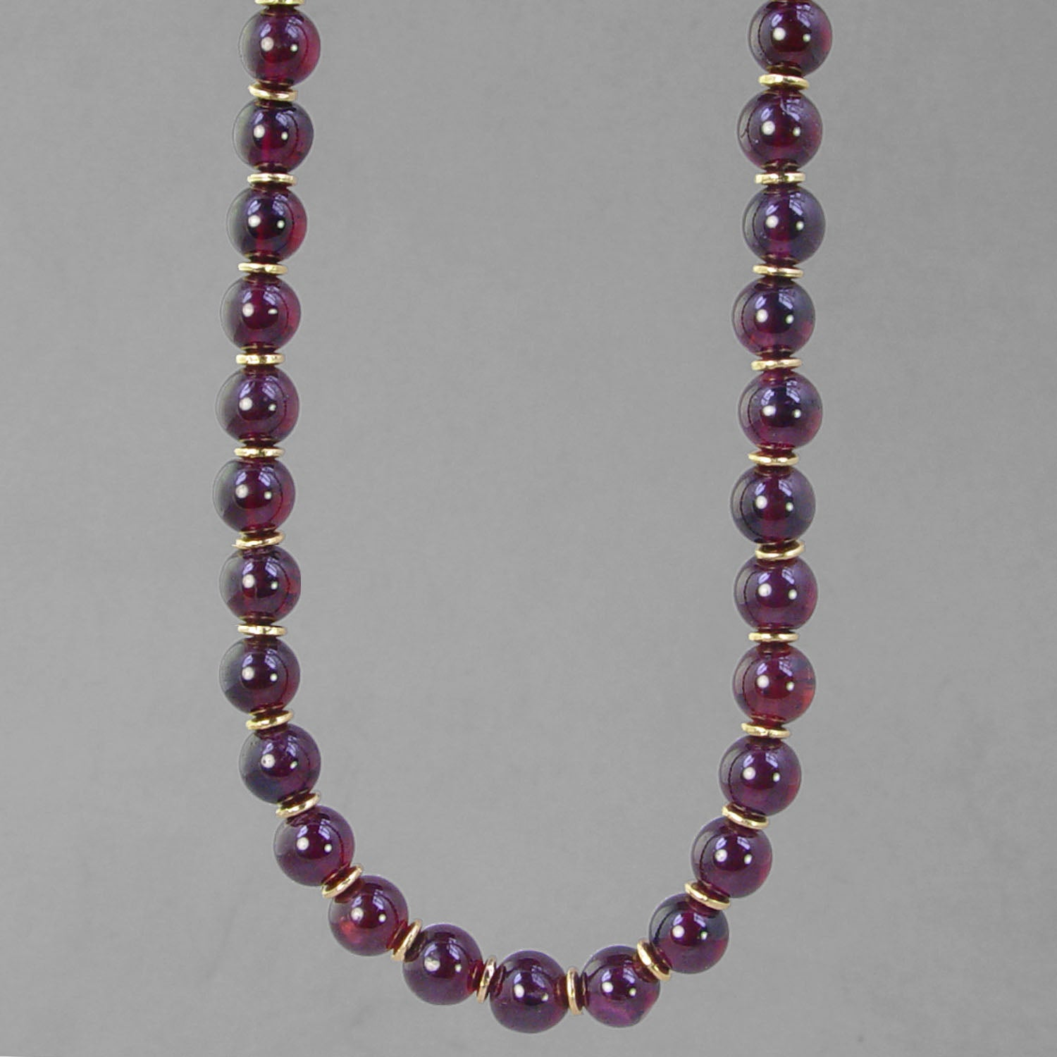 "Garnet Round Bead with Accents 16"", 18"", 20"" or 24"" Necklace"
