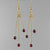 Garnet Long Triple Dangle Earrings