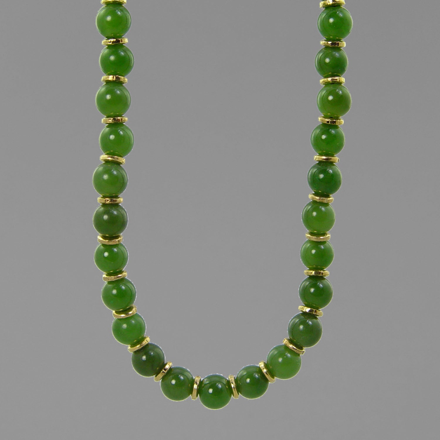 "Jade Round Bead With Accents 16"", 18"", 20"" or 24"" Necklace"