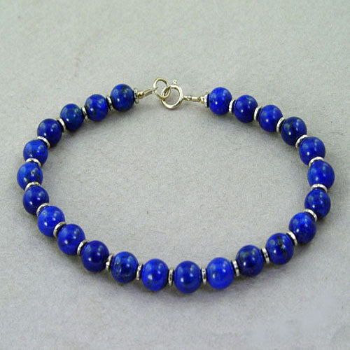 Lapis Round Bead and Accent Bracelet