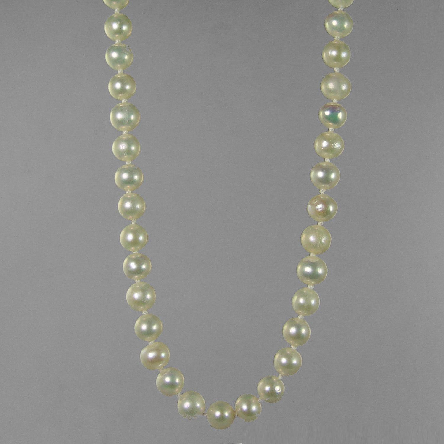 "Pearl 7-7.5 mm Semi Round Knotted 18"" Necklace"