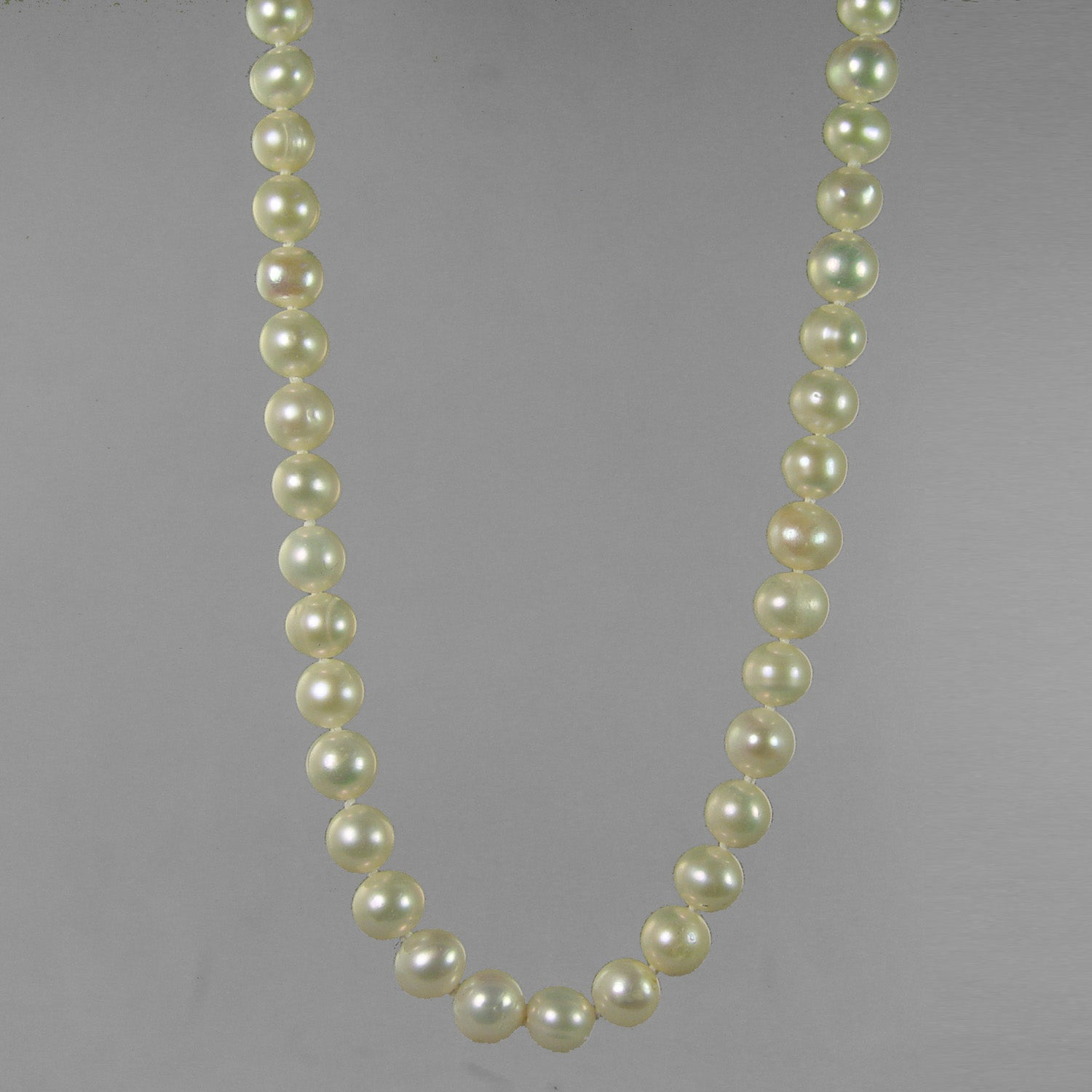 "Pearl 8-8.5 mm Semi Round Knotted with Heart Clasp 20"" Necklace"
