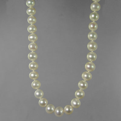 "Pearl 9-10 mm Semi Round Knotted with Fancy Clasp 18"" Necklace"