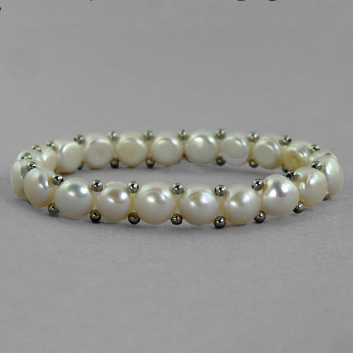 Pearl Double Drilled Stretch Bracelet