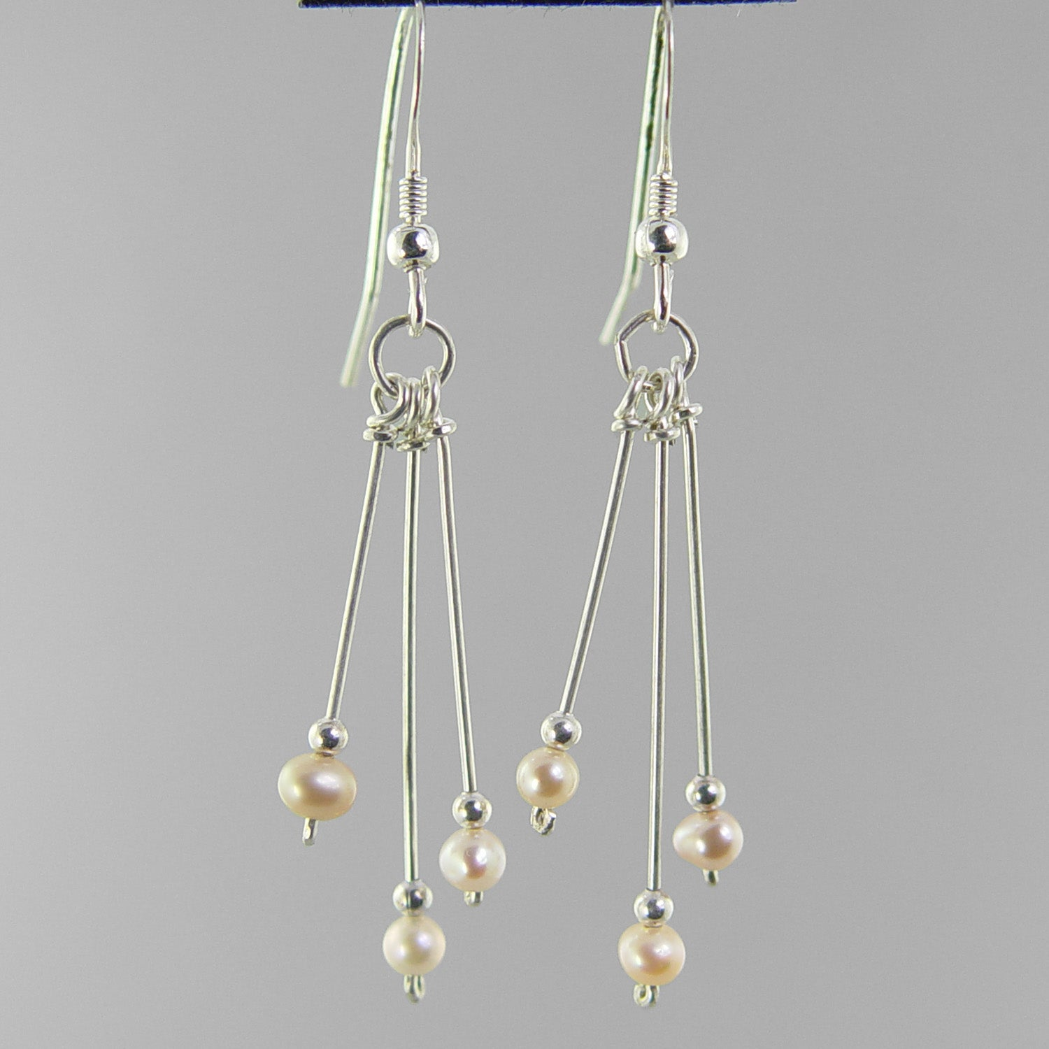 Pearl Long Triple Dangle Sterling Silver Earrings