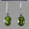 Peridot Faceted Oval Bezel Set Sterling Silver Earrings