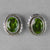 Peridot Faceted Oval Fancy Bezel Post Sterling Silver Earrings