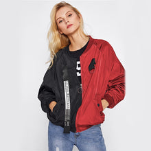 Load image into Gallery viewer, Black and red two-tone casual jacket. - XHIARA