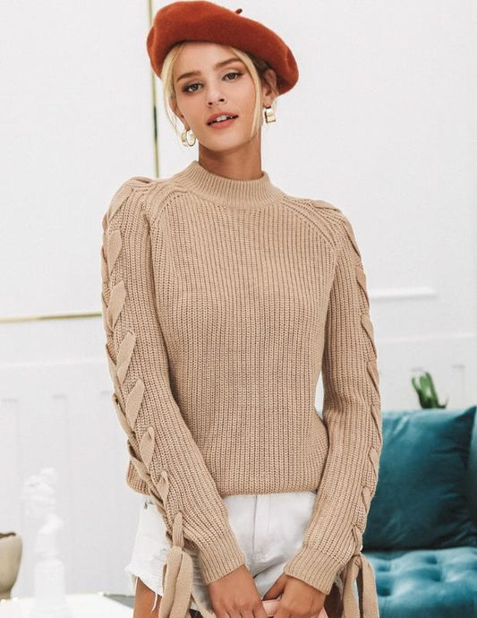 Beige long sleeve sweater. - XHIARA