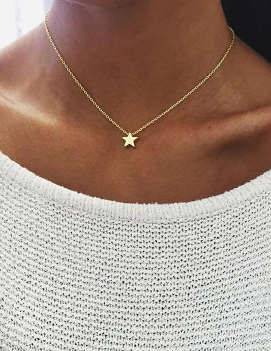 Choker, silver and gold chain with star symbol - XHIARA