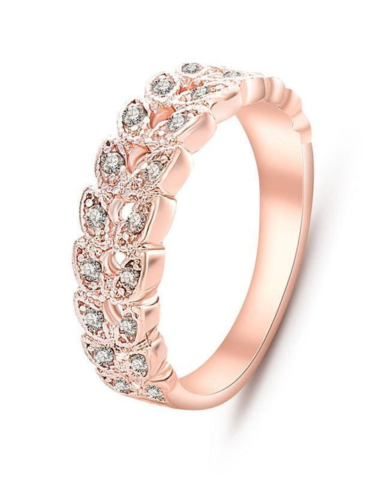 Elegant classic crystal wedding ring gold pink color, concise top quality - XHIARA
