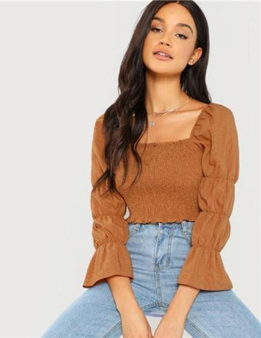tops ruffled brown. - XHIARA