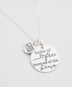 'Home of the Free' + Flag Coin Necklace