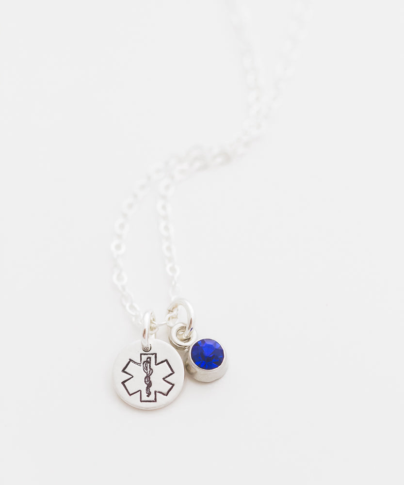 EMT Tiny Coin + Crystal Necklace