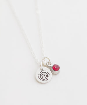 Fire Department Tiny Coin + Crystal Necklace