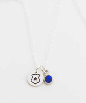 Law Enforcement Badge Tiny Coin + Crystal Necklace