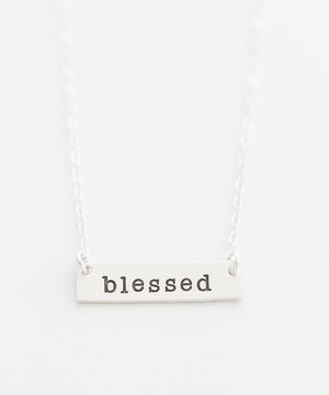 'Blessed' Petite Bar Necklace