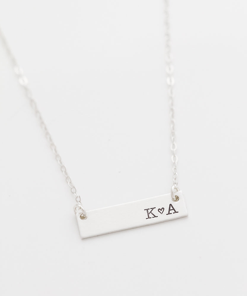 Custom You + Me Petite Bar Necklace
