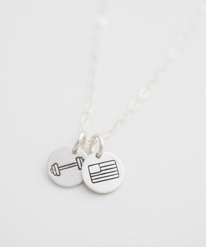 Strength + Freedom Tiny Coin Necklace (Barbell)