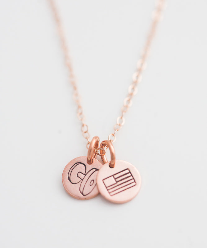 Strength + Freedom Tiny Coin Necklace (Dumbbell)