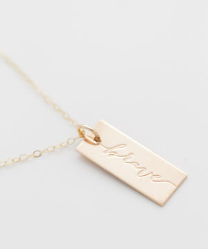 'Brave' Tag Necklace