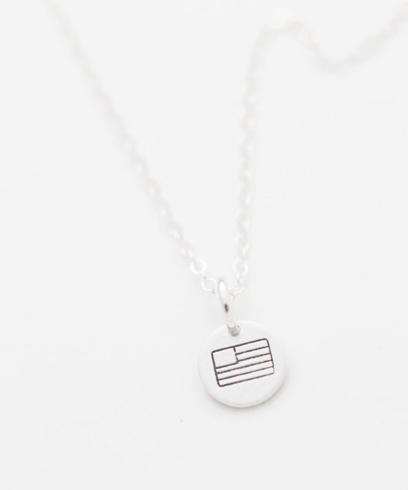 American Flag Tiny Coin Necklace