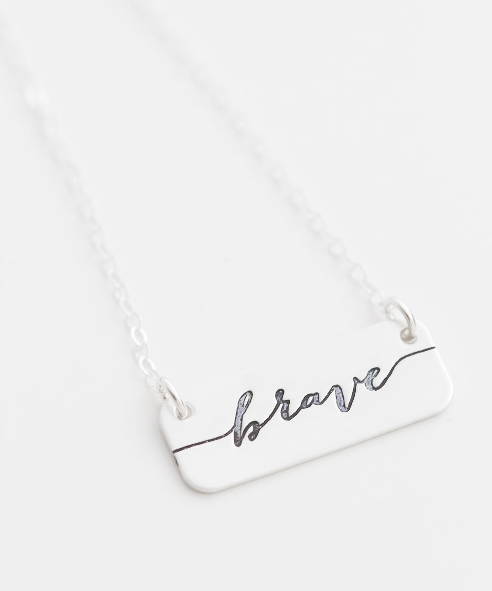 'Brave' Short Bar Necklace