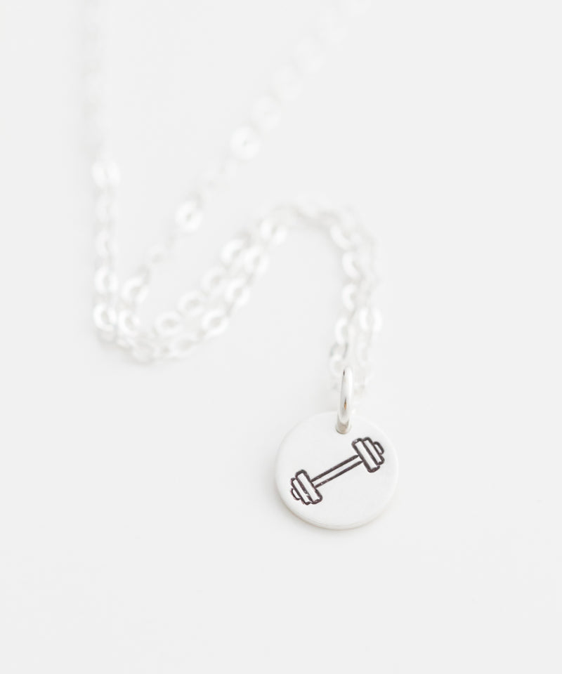 Barbell Tiny Coin Necklace