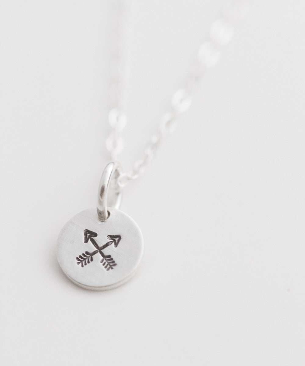 Crossed Arrows Tiny Coin Necklace