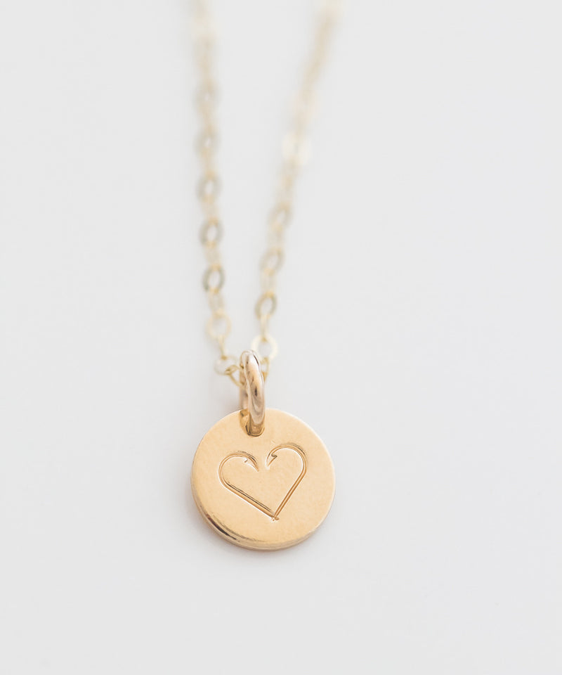 Fishhook Heart Tiny Coin Necklace