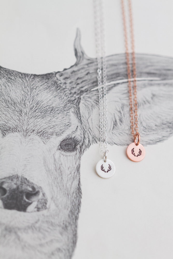 Tiny antler coin necklace