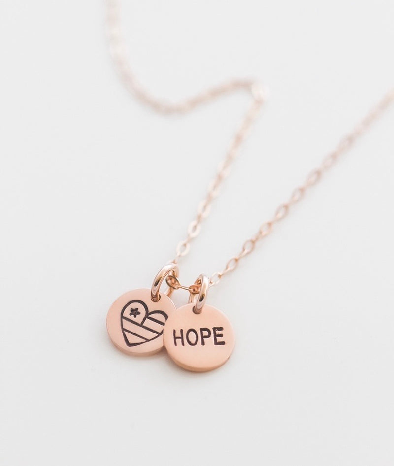 United Hearts + Hope Tiny Coin Necklace