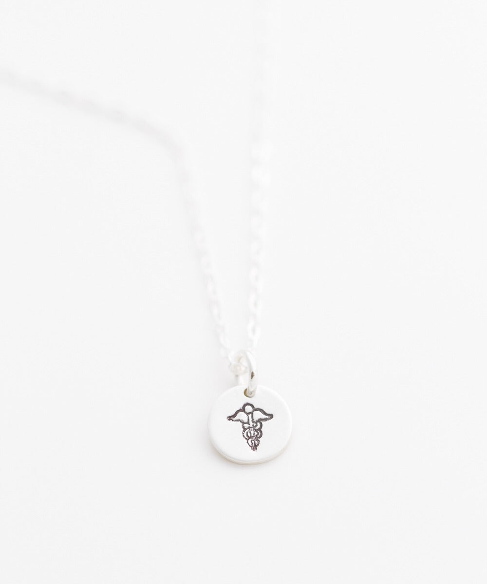 Caduceus Tiny Coin Necklace