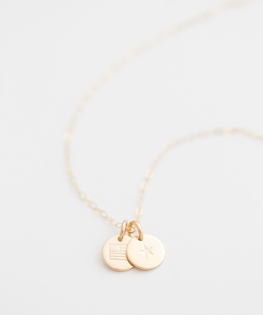 Gold Star + Flag Tiny Coin Necklace