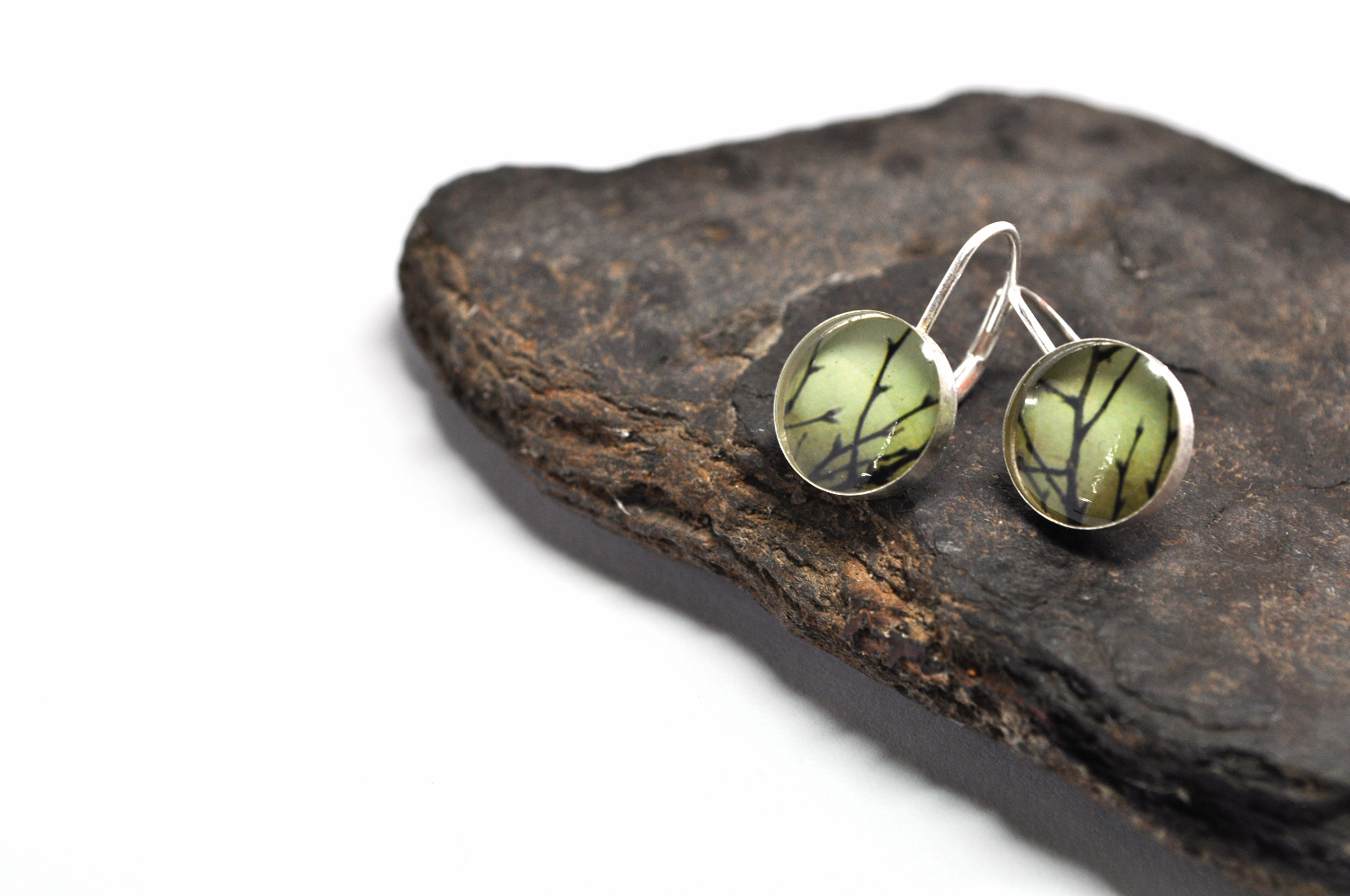 OLIVE. Leverback Earrings. - cameraSHY cove