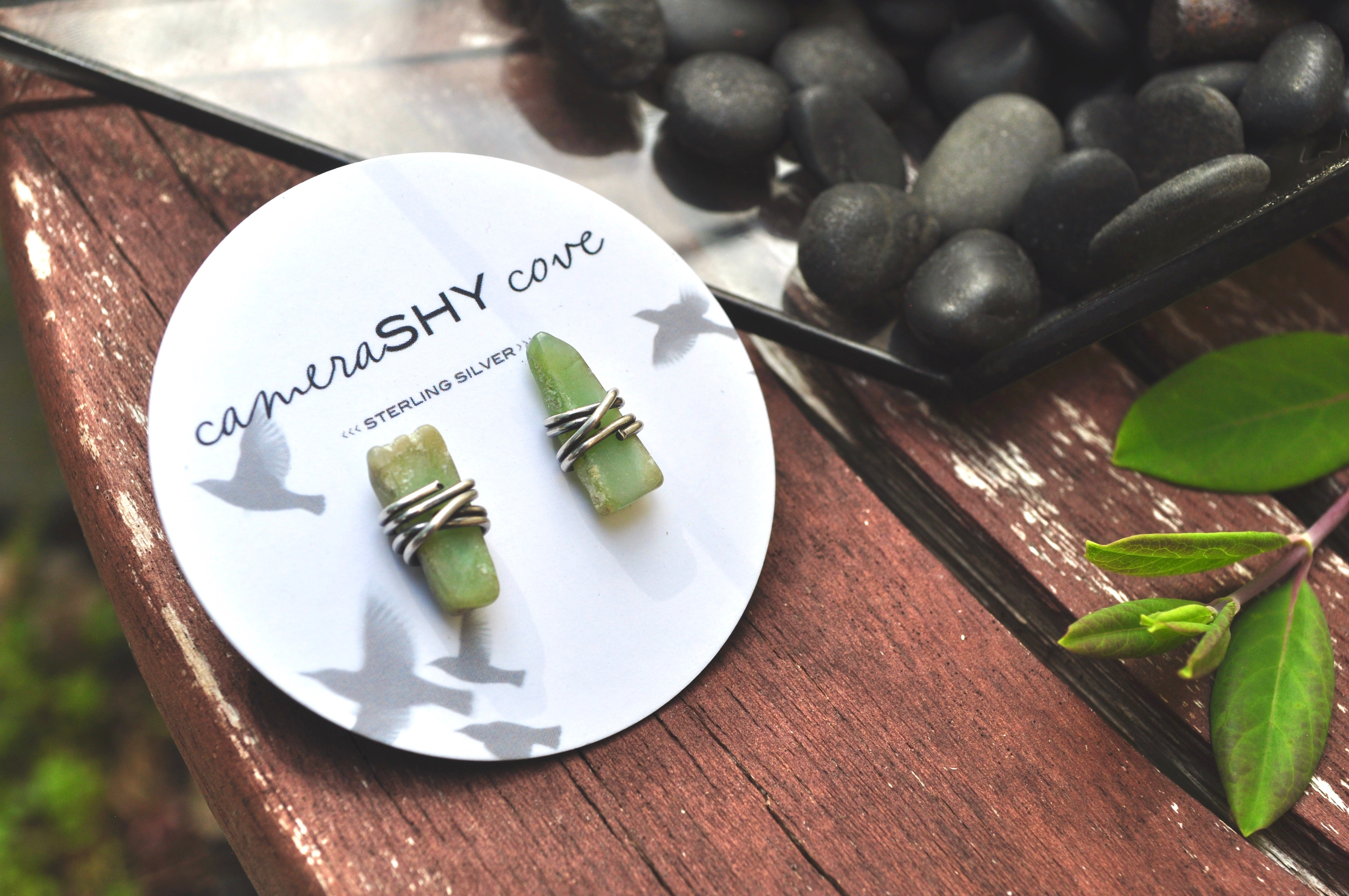 Chrysoprase shard | Maven Stud Earrings